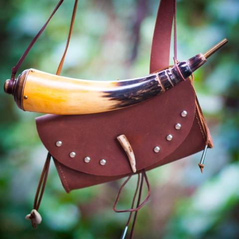 Leather Bag & Gun Powder Horn